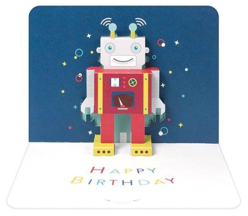 Pop Up Greeting Card - ROBOT Birthday Card - Children's Happy BIRTHDAY Card