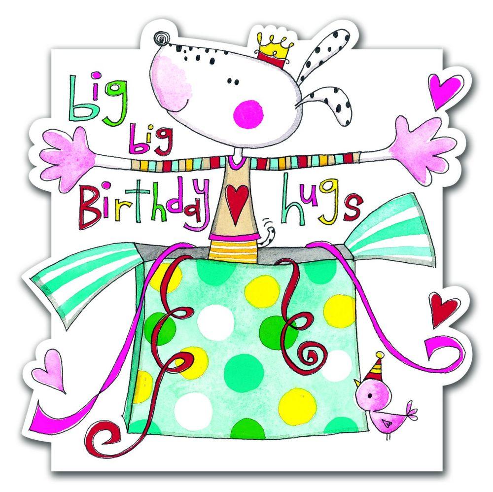 Birthday Card - Big Big Birthday Hugs - CHILDREN'S Birthday Card - CUTE Dog