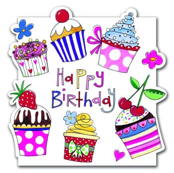 Cupcake Birthday Greeting Cards - HAPPY BIRTHDAY - Birthday Card - CAKES & Baking BIRTHDAY Cards - CARD For MUM - Gran - NAN - Aunty