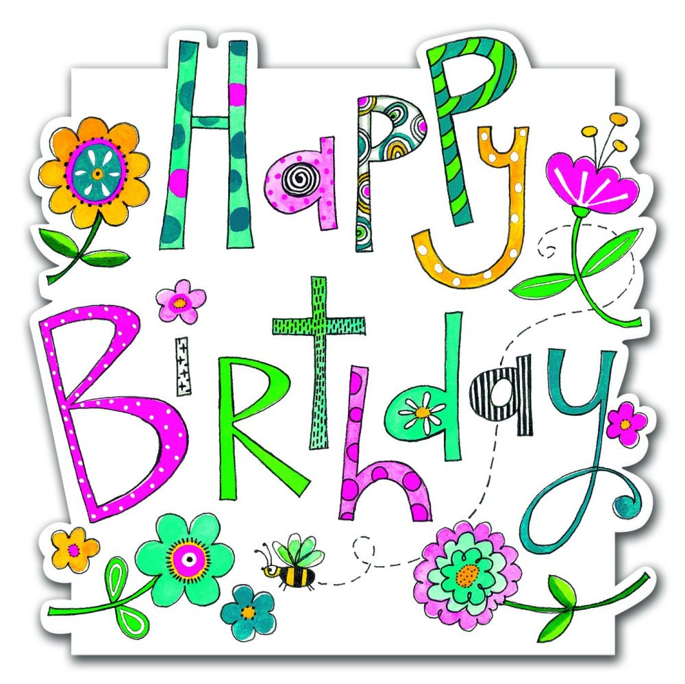 Birthday Card for Her - HAPPY BIRTHDAY - Birthday WISHES with FLOWERS - Flo