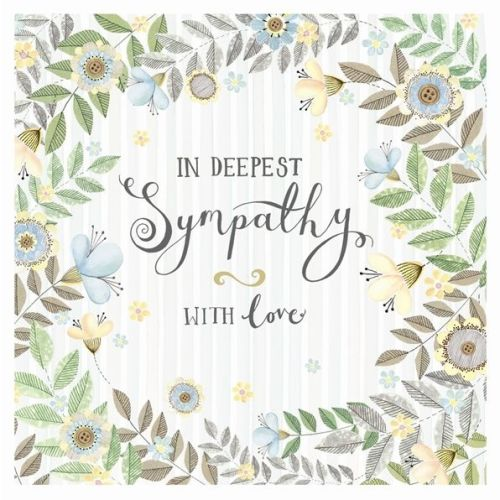 floral sympathy card in deepest sympathy pretty thoughtful card - Deepest Sympathy Card