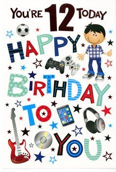 You/'re 12 Birthday Greeting Card 12th boy twelve new age
