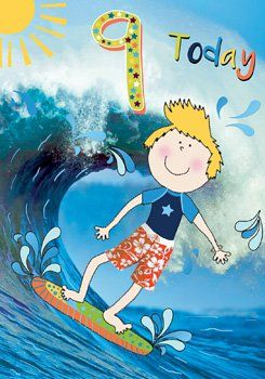 9th Birthday Card For Boys - Surfer Dude - Children's SURF Card - SURFING B