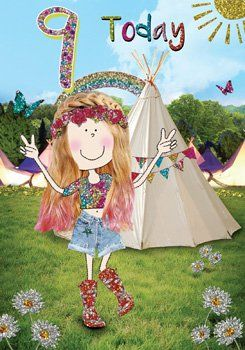 9th Birthday Card Girl - CAMPING BIRTHDAY CARD - Camping GIRL'S Birthday Ca