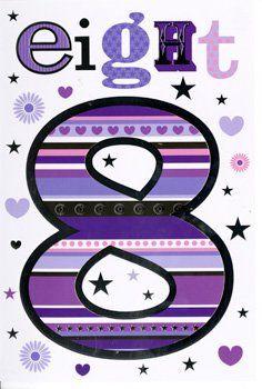 8th Birthday Card Girl - PRETTY Birthday CARD - Card FOR Girl - BIRTHDAY Ca