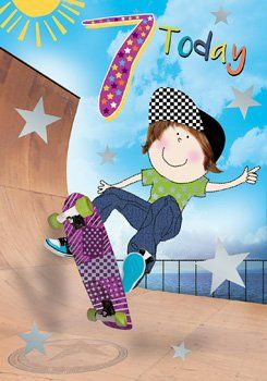 7th Birthday Card Boy - SKATEBOARDER Birthday CARD - 7 TODAY - Skateboardin