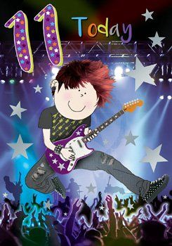 11th Birthday Card Boy - 11 TODAY - ROCKSTAR Birthday Card - Birthday CARD