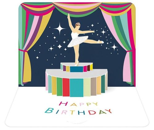 Pop Up Greeting Card - HAPPY Birthday - BALLERINA Birthday CARD - 3D POP Up