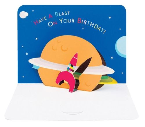 Pop Up Greeting Card - Space ROCKET Birthday Card - Have A BLAST On Your BI