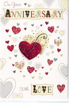 Love Hearts Anniversary Cards - ON Your ANNIVERSARY - Wedding ANNIVERSARY C