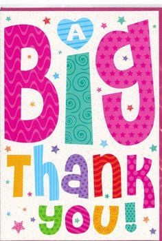 Colourful Thank You Card - A BIG THANK YOU - Thank You CARD - Bright & COLO