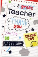 Teacher Thank You Card - To a GREAT Teacher - CARD for TEACHER