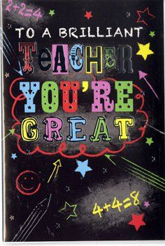 Teacher Thank You Cards - YOU'RE GREAT - Card for TEACHERS - Teacher CARD - END Of TERM Card FOR Teacher - LEAVING Card FOR Teacher