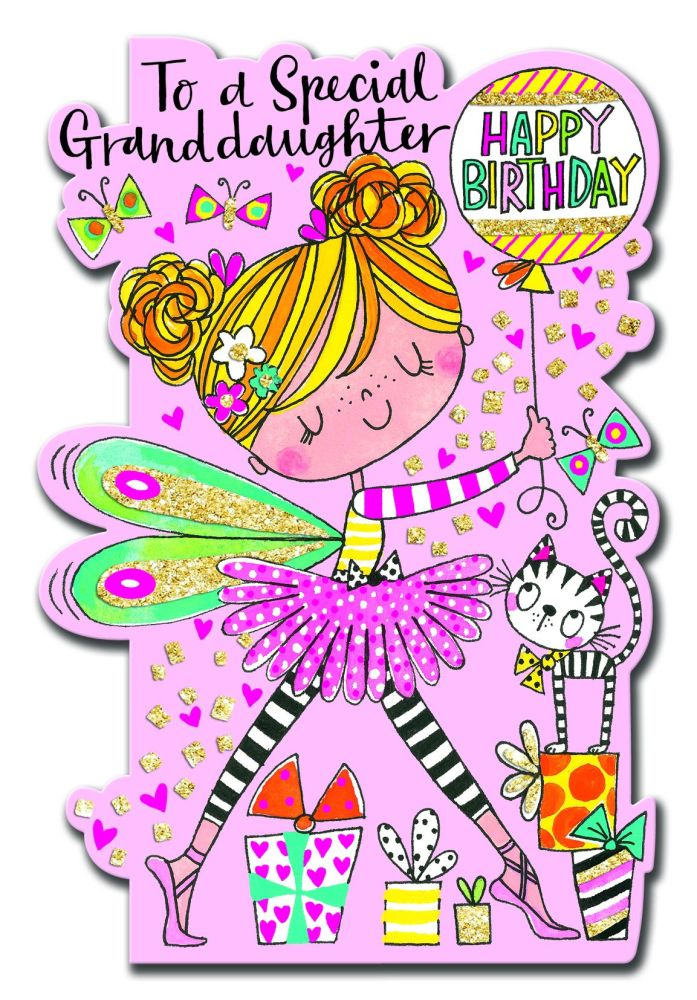 Birthday Card for Granddaughter - TO A Special GRANDDAUGHTER - SPARKLY Birt