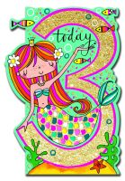 3rd Birthday Card Girl - MERMAID 3 TODAY BIRTHDAY Card - MERMAID Card - 3rd BIRTHDAY Card - DAUGHTER - Granddaughter - NIECE - Greeting CARD