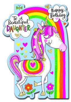 Birthday Card for Daughter - SPARKLY Birthday Card - TO A BEAUTIFUL DAUGHTER - Children's BIRTHDAY Card - UNICORN Card - For Daughter
