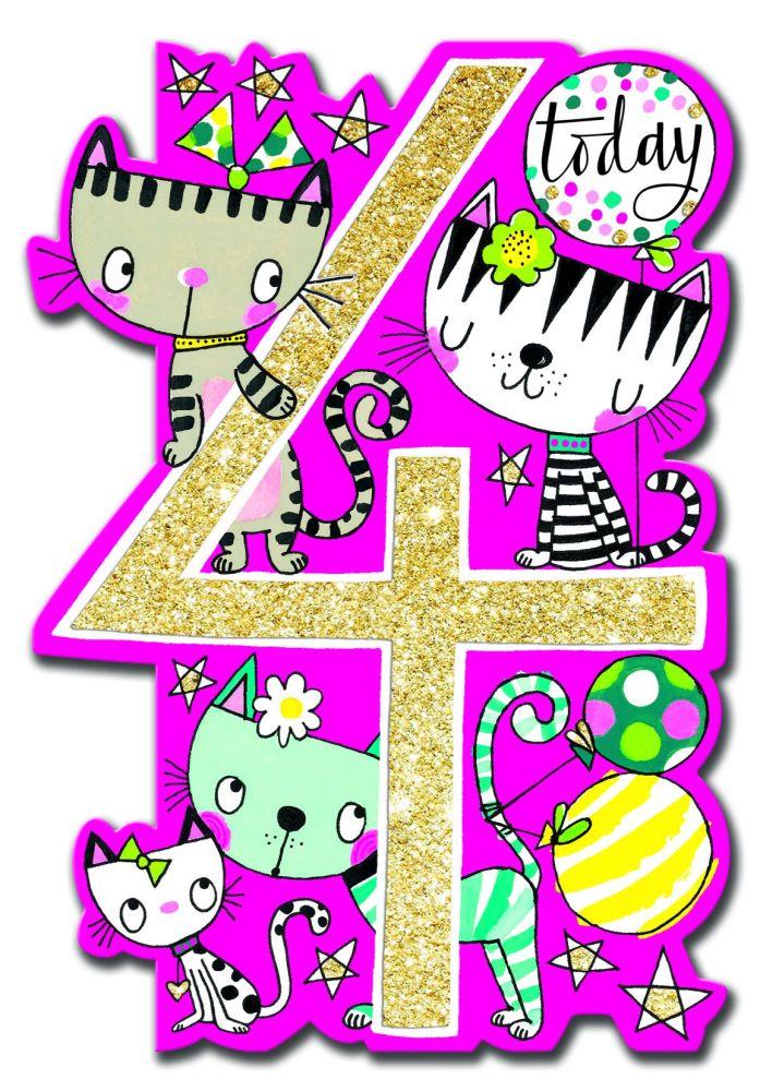 4th Birthday Card Girl - SPARKLY & Glittery CARD - 4 TODAY - Cat BIRTHDAY C