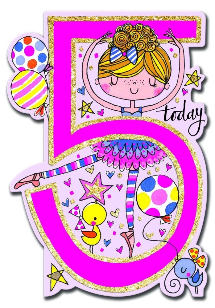 5th Birthday Card Girl - BALLERINA Birthday CARD - 5 TODAY Children's BIRTH