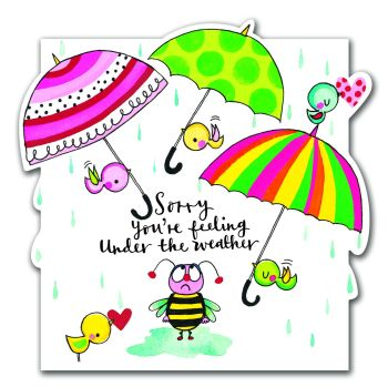 Get Well Soon Card UMBRELLA & Rain - Sorry YOU'RE FEELING under the weather - CUTE Get WELL Soon Card
