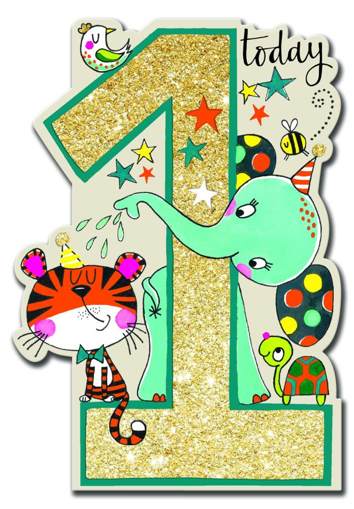 1st Birthday Card Son - 1 TODAY - Zoo Animal BIRTHDAY Card - ELEPHANT Card