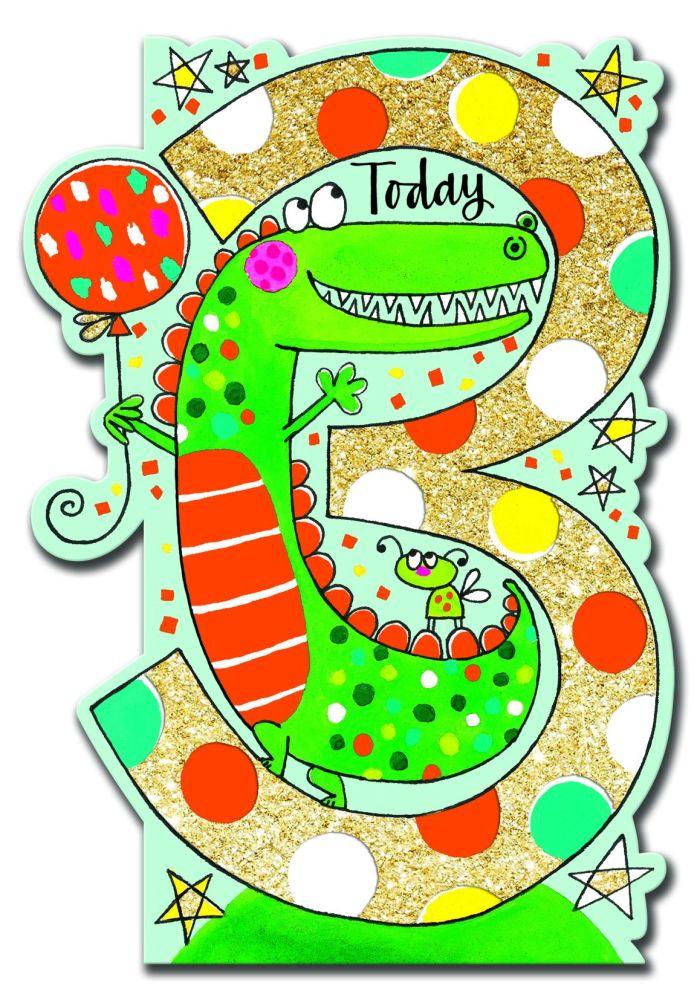 3rd Birthday Card - 3 TODAY Crocodile BIRTHDAY Card - Crocodile BIRTHDAY Ca