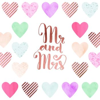 Mr and Mrs Wedding DAY Card - Pretty - Hand PAINTED Card