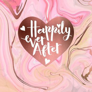 Blush Rose Wedding Day Card - HAPPILY EVER AFTER - Hand PAINTED Card