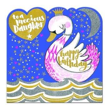 Birthday Card for Daughter - TO A PRECIOUS DAUGHTER - FAIRYTALE Swan BIRTHDAY Card - Children's HAPPY Birthday GREETING  Card - SWAN Princess Birthday