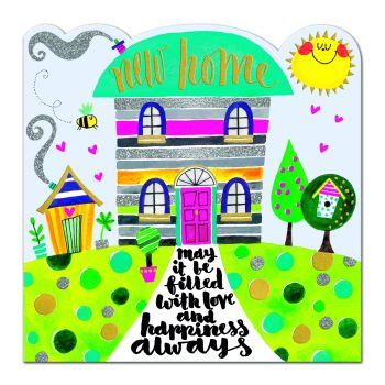 New Home Card - LOVE & HAPPINESS - Housewarming CARD - Moving HOUSE CARD