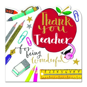 Thank You Teacher Card - FOR Being WONDERFUL - Card for TEACHER - Teacher THANK You