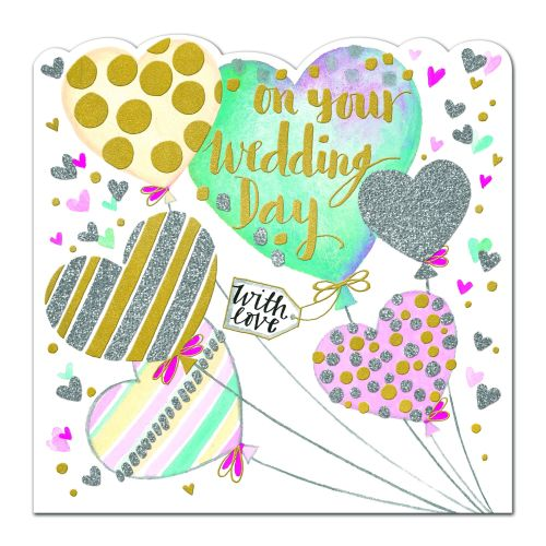 Wedding Cards - On YOUR Wedding DAY - DECORATED Balloons Wedding Day CARD -
