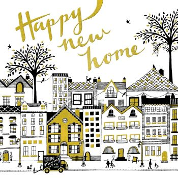 New Home Card - Happy NEW Home - HOUSEWARMING Card - MOVING Card - GOLD Foiled GREETING Card