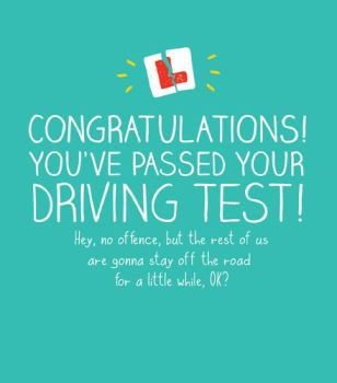 Driving Test Cards - CONGRATULATIONS You've PASSED - Passed DRIVING Test CONGRATULATIONS Card - Funny Driving TEST Card - L Plate DRIVING Card