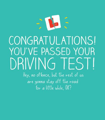 Driving Test Cards - CONGRATULATIONS You've PASSED - Passed DRIVING Test CO