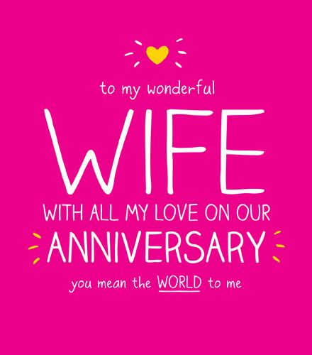 Wife Anniversary Cards - You MEAN the WORLD to ME - Wonderful WIFE Annivers