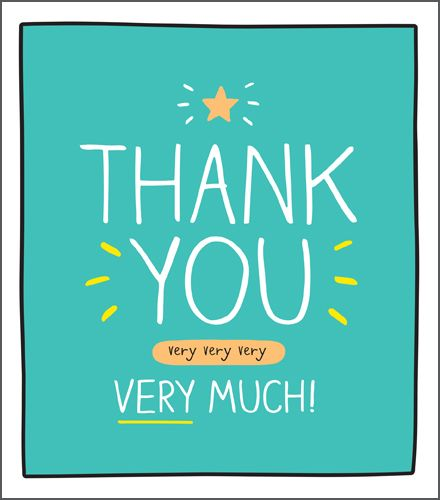 Thank You Card - Cute - MODERN - THANK YOU Very Very VERY Very  MUCH - Typo