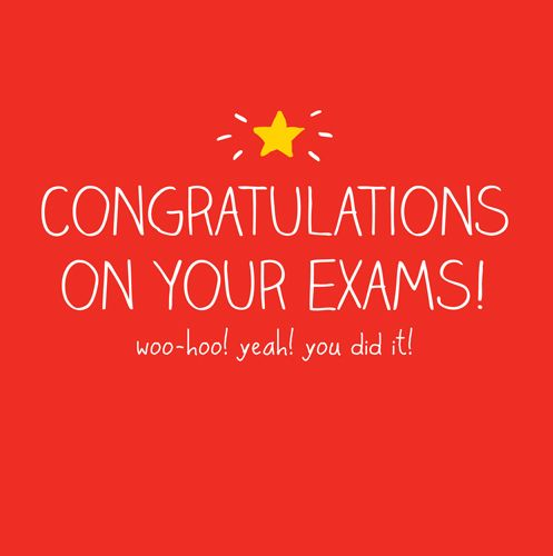Exam Congratulations Cards - WOO HOO Yeah You DID IT - EXAM Success CARDS -