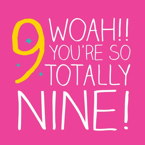 9th Birthday Card Girl - WOAH You're So TOTALLY Nine - Children's Birthday