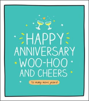 Champagne Glasses Anniversary Cards - WOO HOO & Cheers - Funny ANNIVERSARY Cards - HAPPY Anniversary CARD For FRIENDS - Mum & DAD