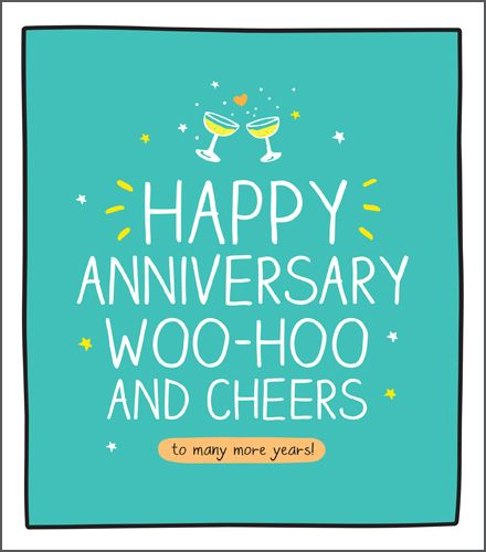 Champagne Glasses Anniversary Cards - WOO HOO & Cheers - Funny ANNIVERSARY