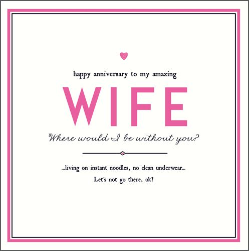 Anniversary Cards For Wife - NO Clean UNDERWEAR - Funny ANNIVERSARY Card FO