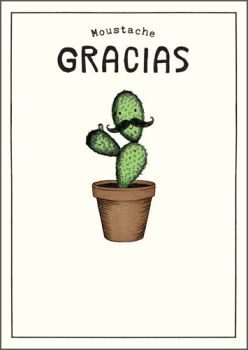 Thank You Cards - MOUSTACHE GRACIAS - FUNNY Thank You CARDS - Cactus CARD - Moustache Thank YOU Cards