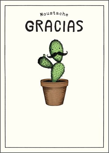 Thank You Cards - MOUSTACHE GRACIAS - FUNNY Thank You CARDS - Cactus CARD -