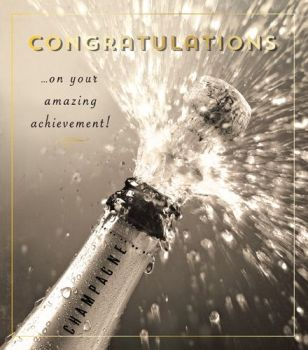 Champagne Bottle Congratulations Card - CONGRATULATIONS On Your AMAZING ACHIEVEMENT - Congratulations CARDS - Champagne CARD - New JOB - Driving TEST