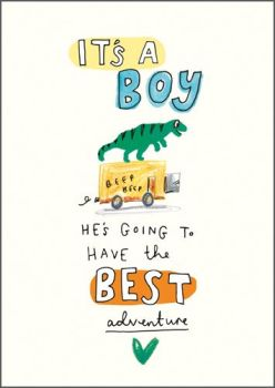 New Baby Boy Cards - HE'S Going To HAVE The Best ADVENTURE - It's A BOY Card - NEW Baby CARD - Baby BOY Cards - NEWBORN Baby Boy CARDS