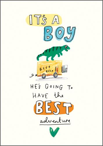 New Baby Boy Cards - HE'S Going To HAVE The Best ADVENTURE - It's A BOY Car