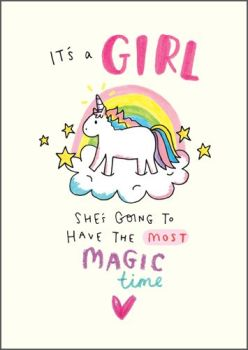 New Baby Girl Cards - SHE'S Going TO Have The MOST Magic TIME - It's A GIRL Card - NEW Baby CARD - Baby GIRL Cards - NEWBORN Baby Girl CARDS