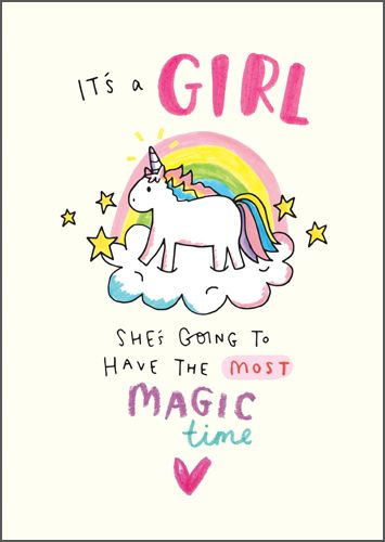 New Baby Girl Cards - SHE'S Going TO Have The MOST Magic TIME - It's A GIRL