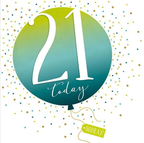 21st Birthday Card - SPARKLY & Glittery Birthday CARD - 21 Today HOORAY - C