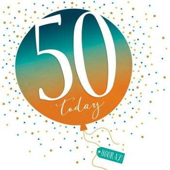 50th Birthday Card - SPARKLY & Glittery Birthday CARD - 50 Today HOORAY - Confetti Balloon DESIGN Card - MILESTONE Birthday - CARD For HIM - Her